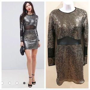 ASOS TALL | Sequin Mesh Dress Silver Black Size 8
